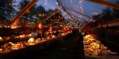 Clear-topped party tent with buffet