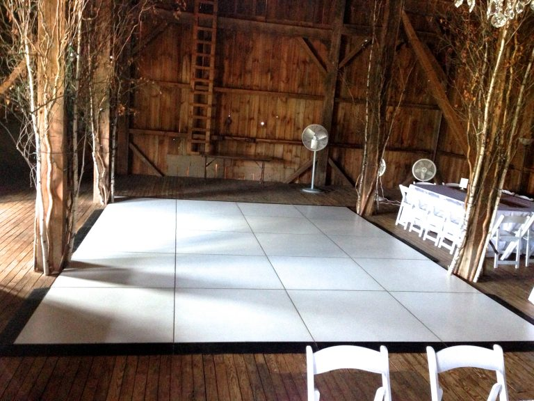 Dance floor and stage in barn