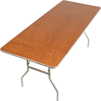 Rectangle foldable table with wooden top