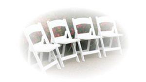 4 fancy white folding chairs